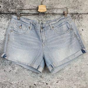 American Eagle | Striped Denim Shorts